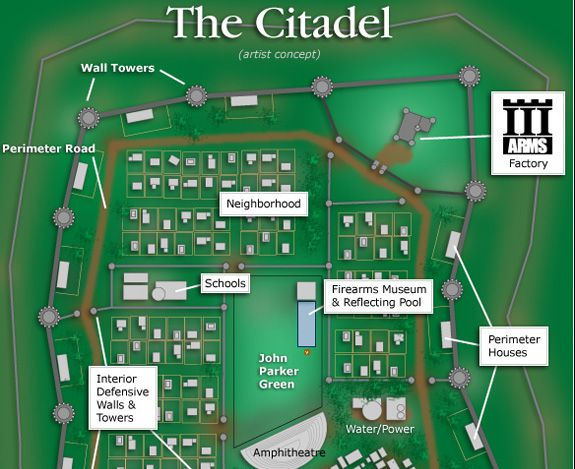 Artist's concept sketch for The Citadel: A Community of Liberty