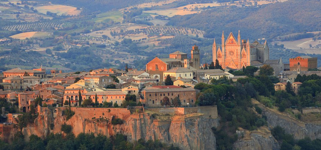 The Etruscan town of Orvieto, sitting high above the Umbrian plain