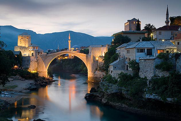 Old bridge over Neretva river Mostar Bosnia and Herzegovina