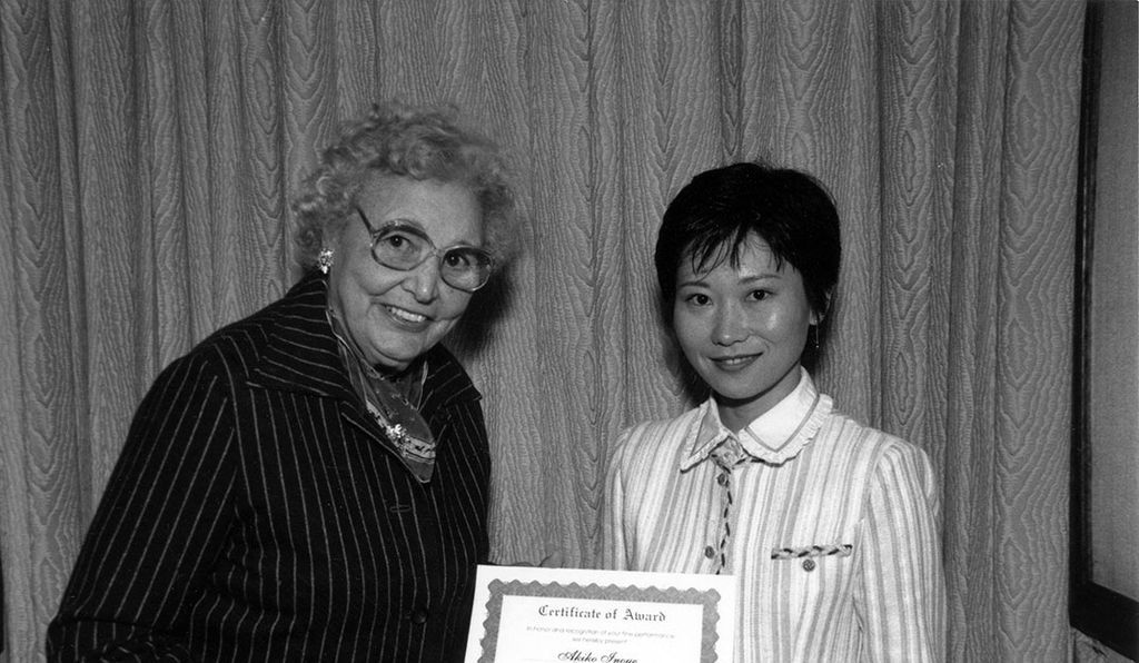 A mentor to others, Mary Ross (above, in 1993 presenting a Society of Women Engineers certificate to Akiko Inoue) was reluctant to accept awards and when she did, she made sure to credit her coworkers.