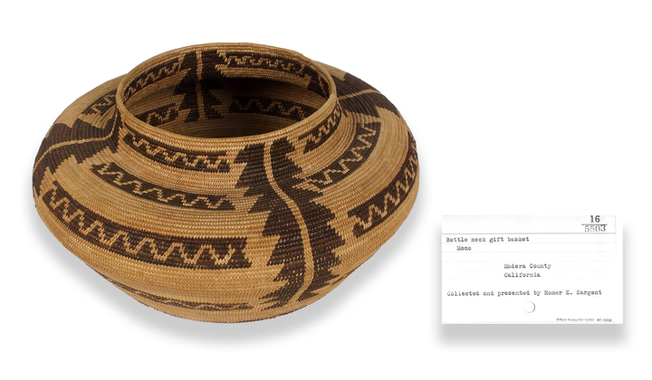 Coiled basket jar, ca. 1900, made by Mary Burkhead (Western Mono). Madera County, California. 16/5503. Through archival research, the museum now knows that a Western Mono woman named Mary Burkhead made this coiled basketry jar, information not listed on the catalog card. The research is part of a multiyear, multi-institutional project to recover information that was separated from, or perhaps never a part of, the museum's catalog records. (National Museum of the American Indian, Smithsonian. Note: Objects and catalog cards in these photo composites are not to scale.)