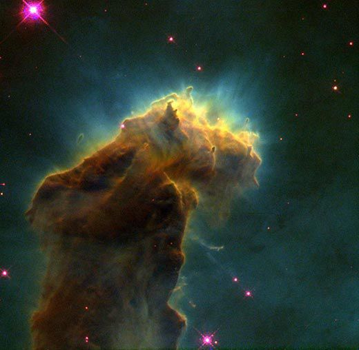 Embryonic stars in the Eagle Nebula