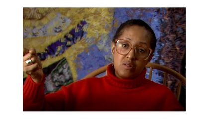 Howardena Pindell and Linda Freeman. Still from Interview with Howardena Pindell, 1991 January 14. Linda Freeman papers, 1971-2015. Archives of American Art, Smithsonian Institution. © Linda Freeman, L and S Video
