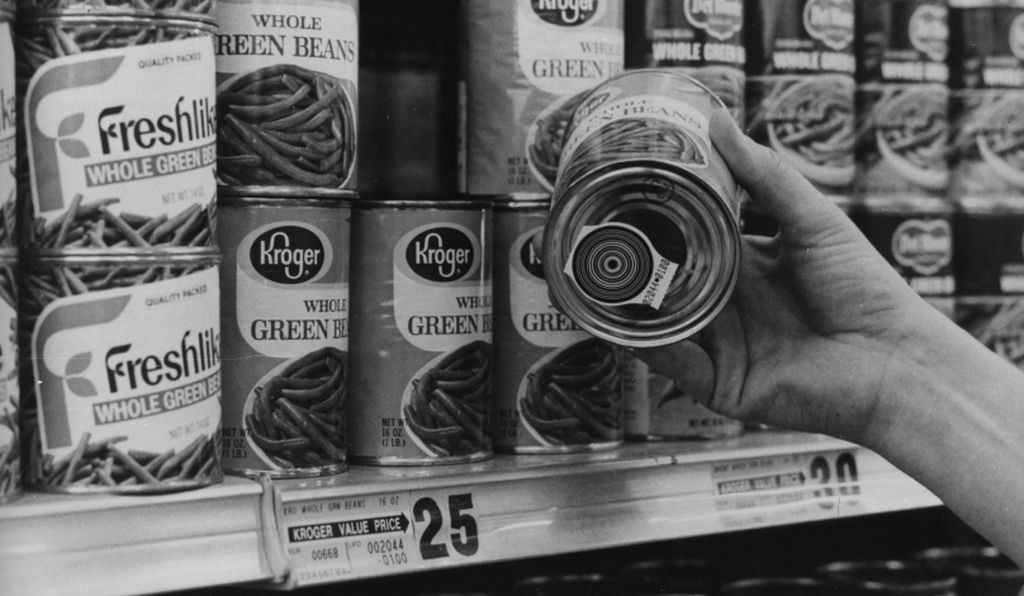 The first real-life test of RCA's bull's-eye bar code was at the Kroger Kenwood Plaza store in Cincinnati.