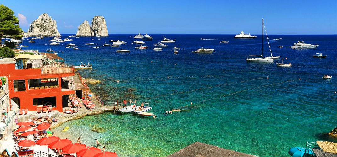 Yachts in a harbor on Capri