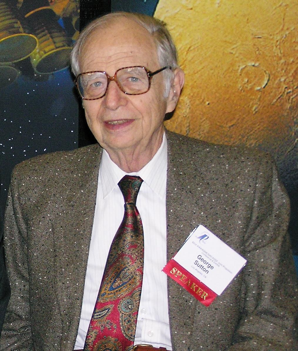 Sutton, George P., at an AIAA Conference on propulsion at Sacramento, 12 July 2006, courtesy, Alan Lawrie.JPG