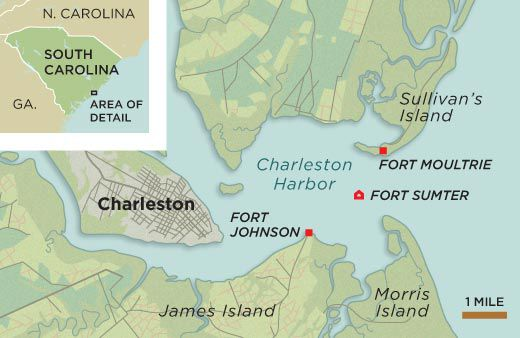 Fort Sumter The Civil War Begins History Smithsonian - Us map fort sumter