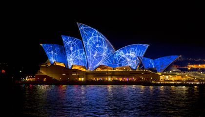 Lighting the sails at the Sydney Opera House.