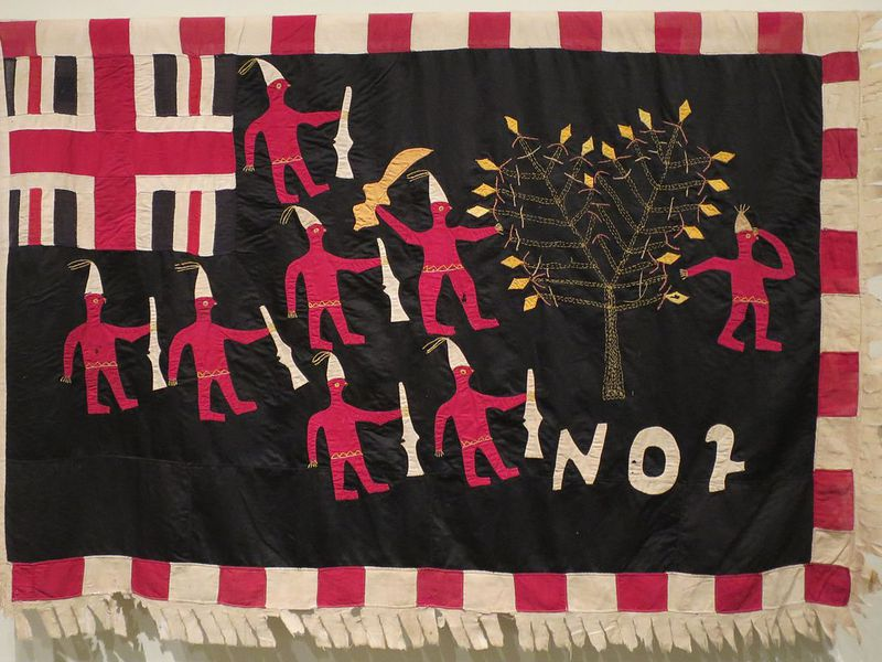 Asafo Flag, No. 2 Company; created by Akwa Osei, Ghana, Fante people; c. 1900, Cotton and rayon, embroidery and appliqué