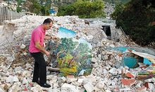 Haitian art in earthquake rubble