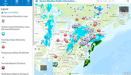 Use This Map to Track the Snowfall and Social Media Buzz Around the Northeast Blizzard