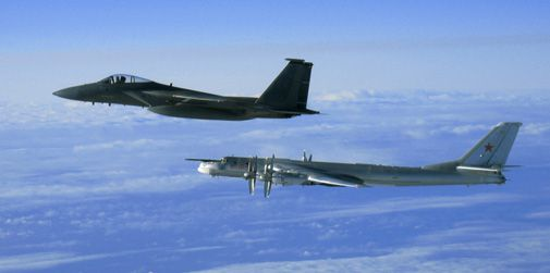 A U.S. fighter meets a Russian bomber over Alaska.