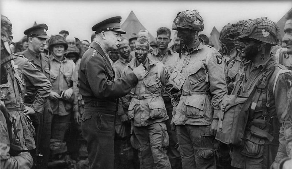 Dwight Eisenhower talks to members of the 502nd Parachute Infantry Regiment, the day before D-Day.