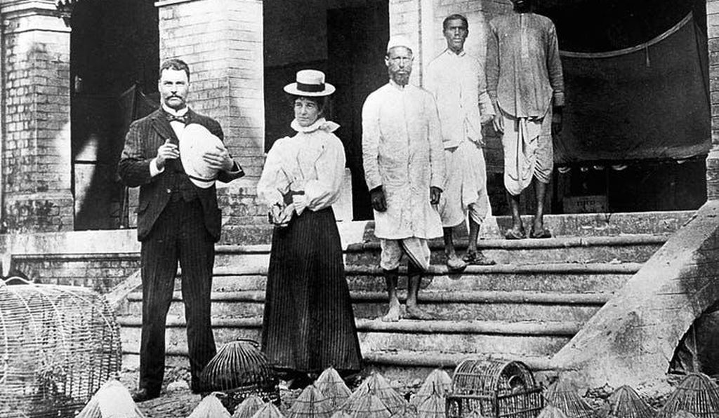 Ronald Ross at his lab in Calcutta, 1898.
