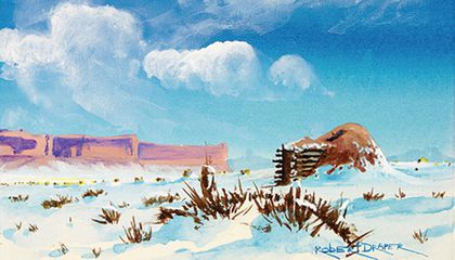 """Hogan in the Snow,"" ca. 1985. Painted by Robert Draper (Diné [Navajo], 1938–2000). Chinle, Navajo Nation, Arizona. 26/6481 (National Museum of the American Indian, Smithsonian)"