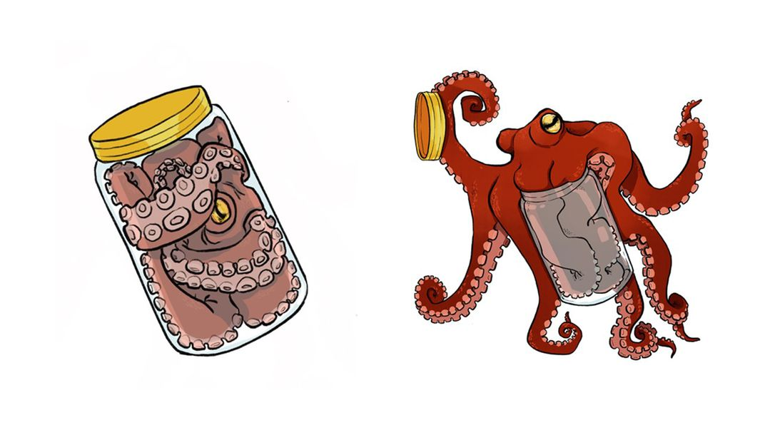Cartoon of a red octopus escaping a clear jar with a yellow lid.