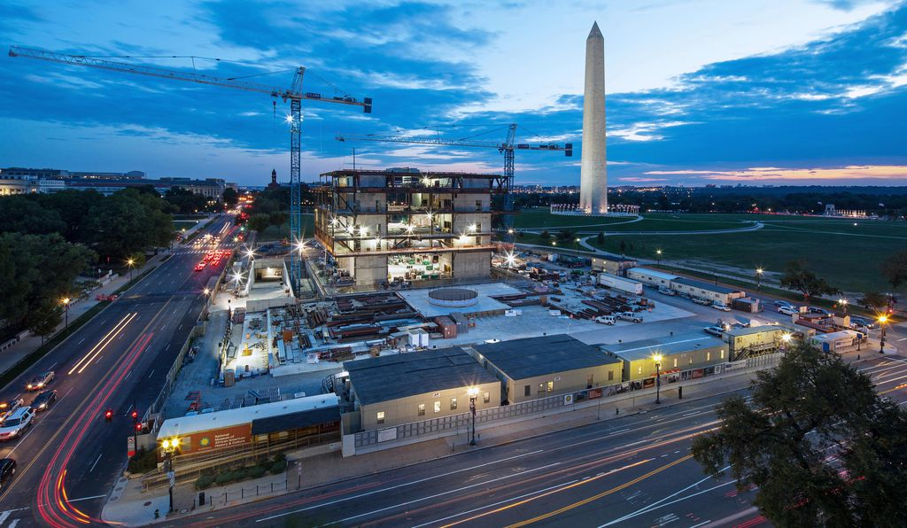 An aerial view shows the construction site in October 2014 for the new Smithsonian museum on the National Mall in Washington, D.C.