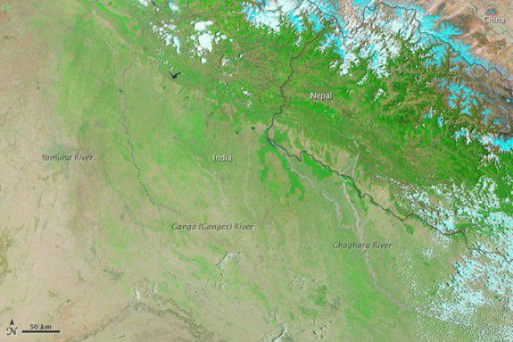 India as seen from space on May 30, before the monsoon.