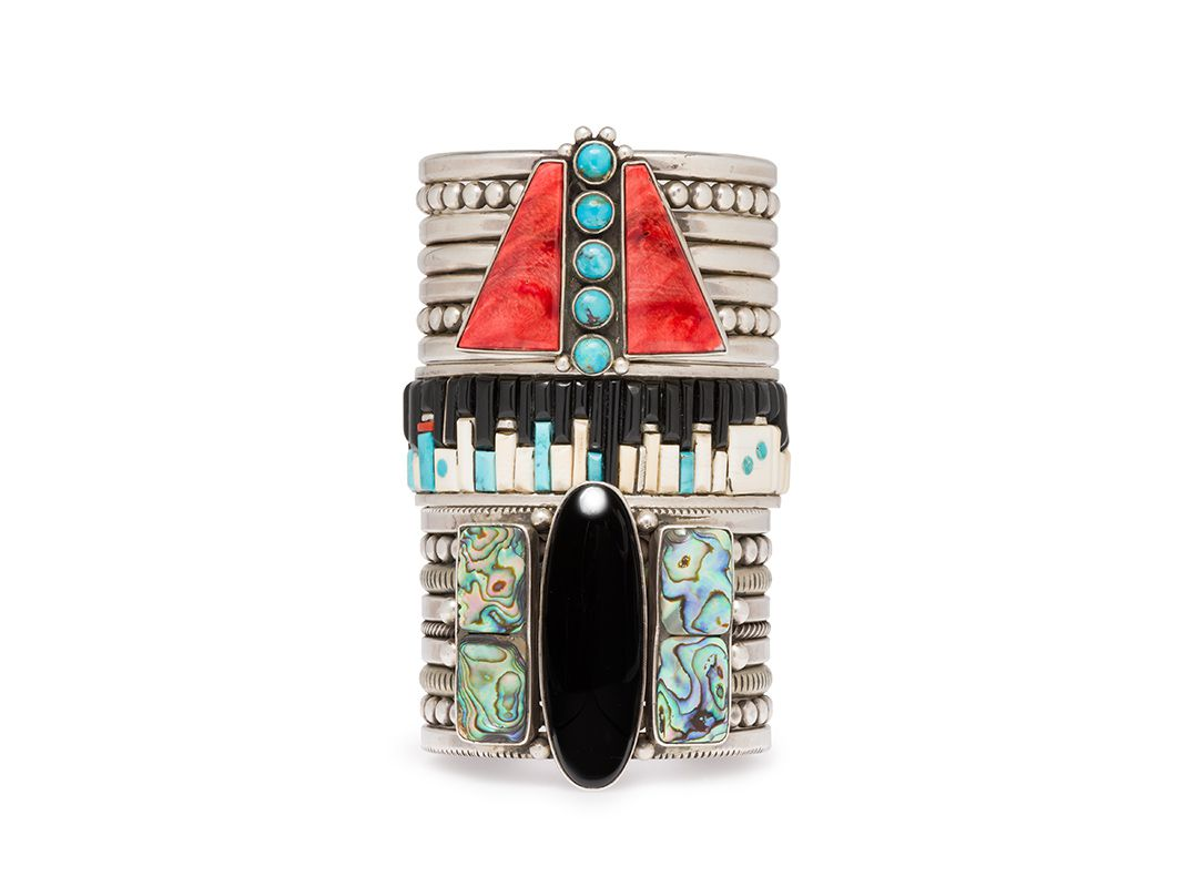 These designs showcase the provocative world of native fashion at bracelet by mike bird romero ohkay owingeh san juan and taos pueblos and eddie begay din navajo 200010 sterling silver spiny oyster buycottarizona Images