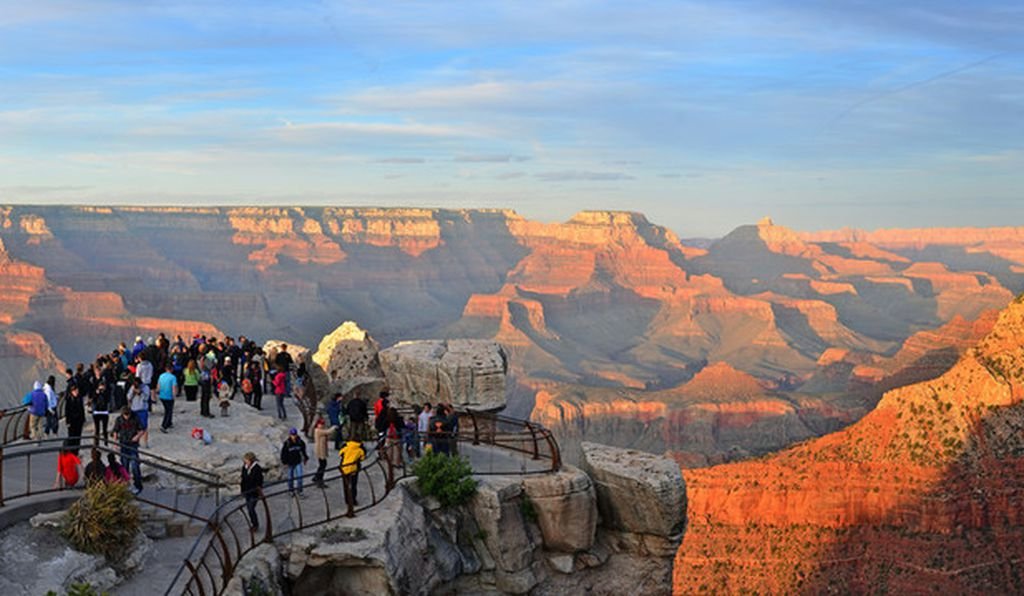 Visitors at Mather Point, Grand Canyon National Park, Arizona. More than five million people visited the park in 2015.
