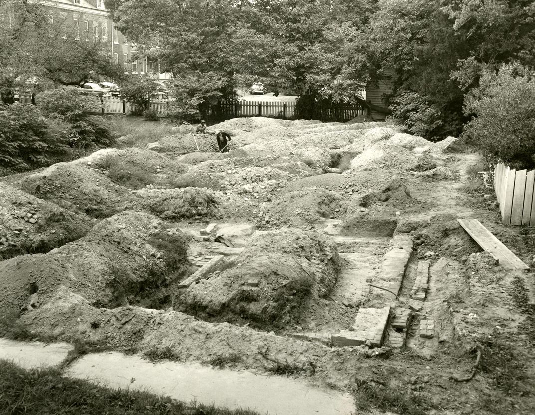 1957 archaeological excavation at the site of First Baptist Church's original permanent structure