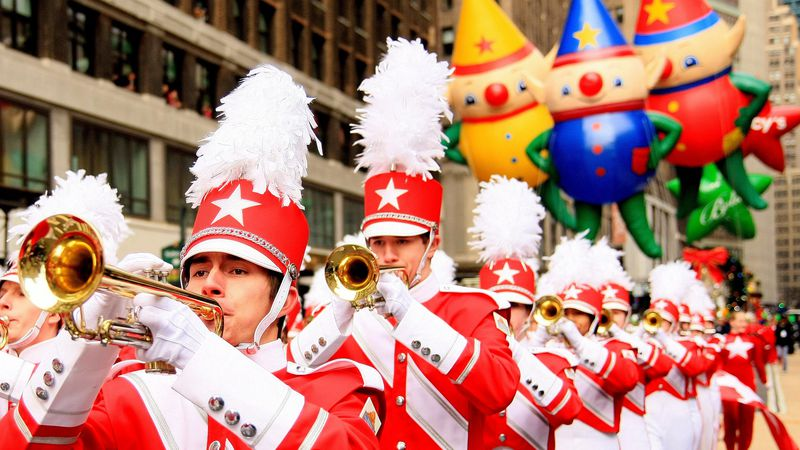 Macy's Great American Marching Band at the Macy's Thanksgiving Day Parade.