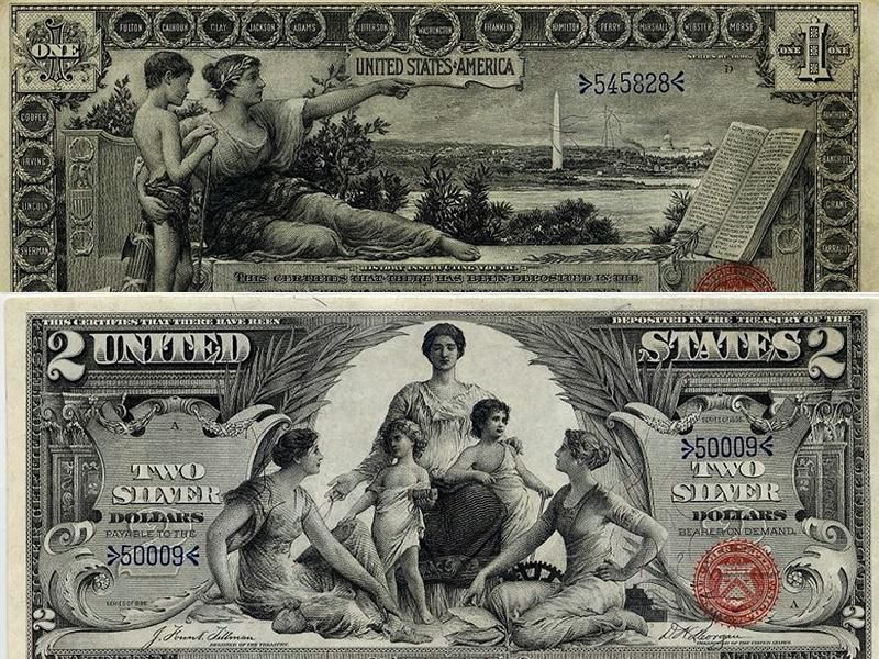 Obverse of 1890s silver certificates