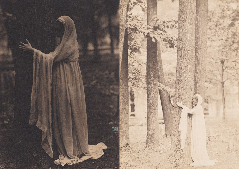 Violet Oakley in two poses photographed by Eva Watson-Schütze