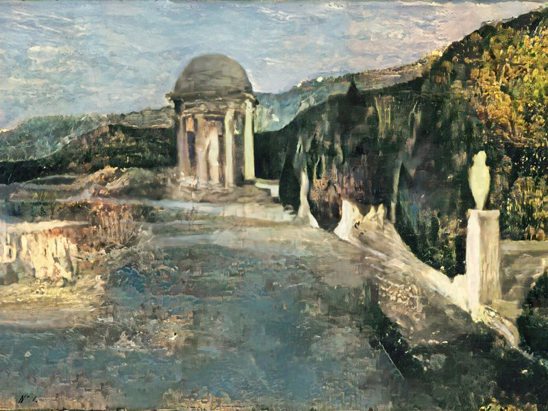 A nature scene with muted blues, greens and whites, of a small white cupola in front of rolling green hills and other marble elements
