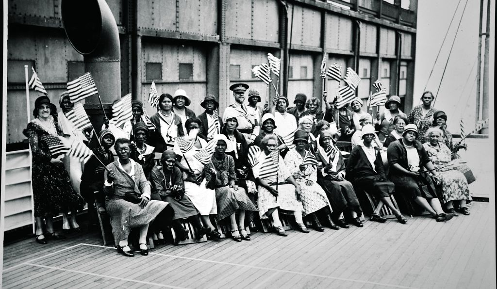 Gold Star Pilgrims with Col. Benjamin O. Davis Sr. (center) aboard ship in 1931. Although nearly 1,600 African American mothers and widows were eligible to travel to Europe, fewer than 200 participated, partly because of the segregated nature of the program.
