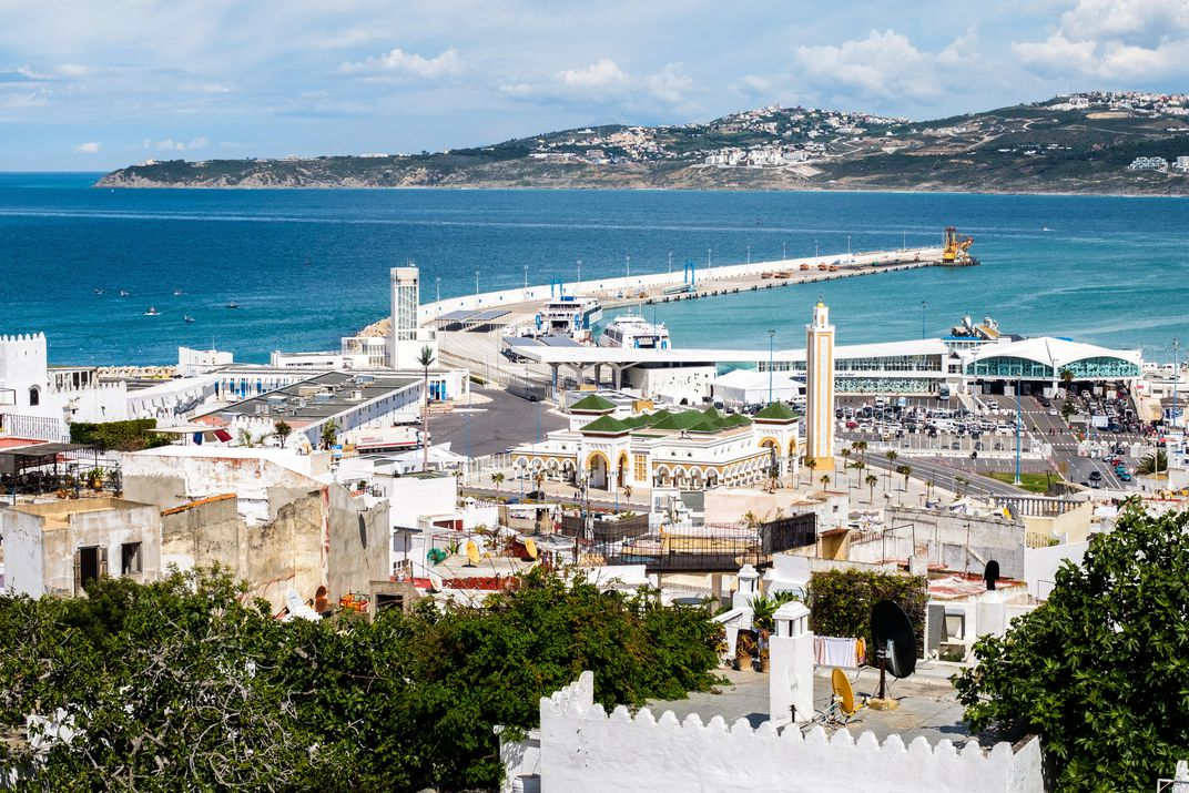 View of the Tangier, Morocco, port, with ferry terminal and American Legation visible