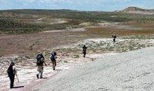 On the march back from the Death March site, everyone carries bags of sediment