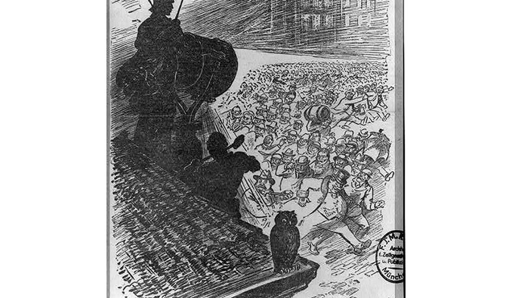 Printed in the New York Herald on April 12, 1917, this propaganda sketch depicts a silhouetted figure shining searchlight beam on marching crowd of German-Americans, depicted with stereotypical handle-bar moustaches, long pipes, and beer steins.