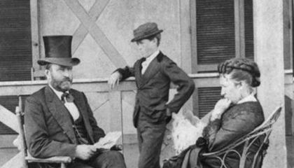 President Ulysses S. Grant with First Lady Julia Dent Grant and son Jesse in 1872.