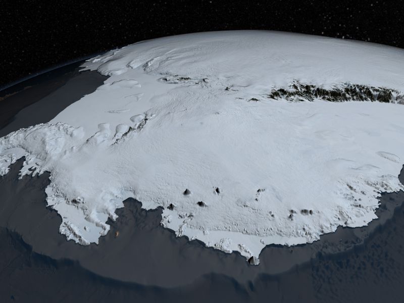Here's Antarctica as we know it today, a land of vast ice sheets.