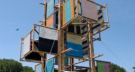 An abstract sculpture representing Colombian urban buildings at the 2011 Smithsonian Folklife Festival.