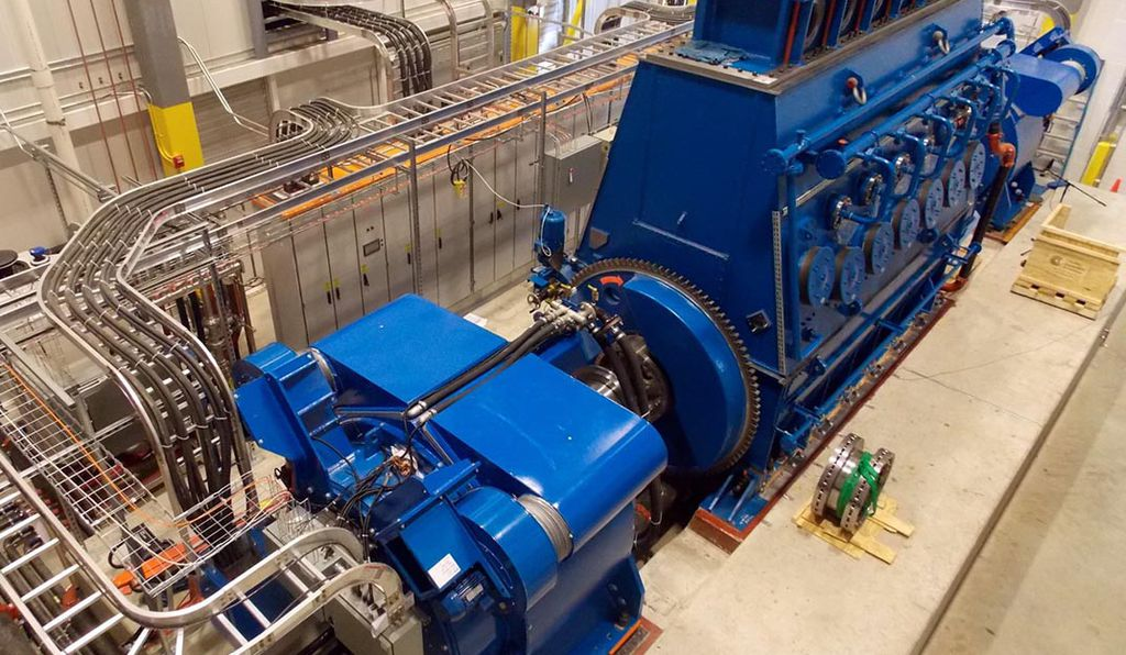 The SustainX machine, pictured here in May of 2013, uses isothermal compressed air technology to store energy.