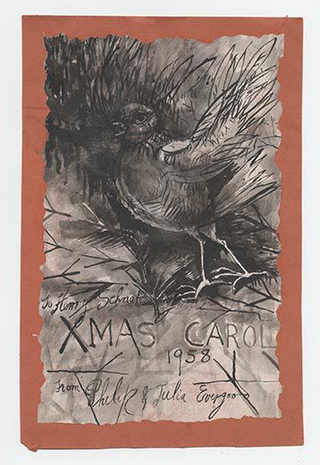 philip evergood an american artist active during the depression and world war ii sent this hand painted watercolor as a family christmas card to artist - Art Christmas Cards