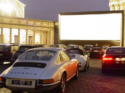 A drive-in with an inflatable movie screen in Brussels, Belgium