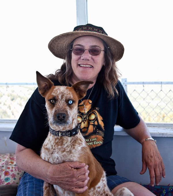Dixie and dog Maggie at lookout photo by Marilyn Conway .jpg