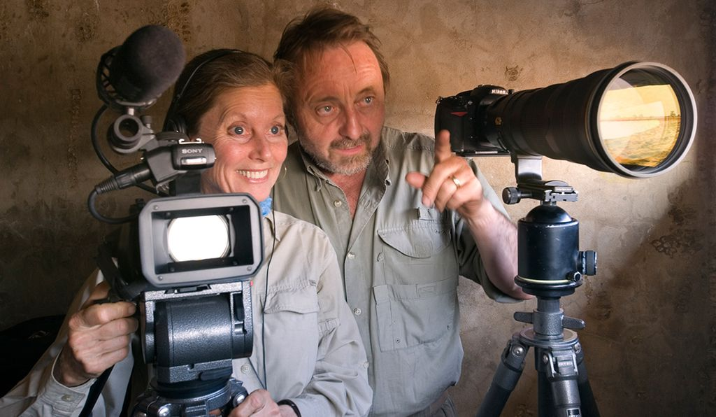 Videographer Chris Eckstrom and her husband photographer Frans Lanting hid inside a concrete bunker by a water hole in Namibia in 2009 to capture images of animals that came to drink there.