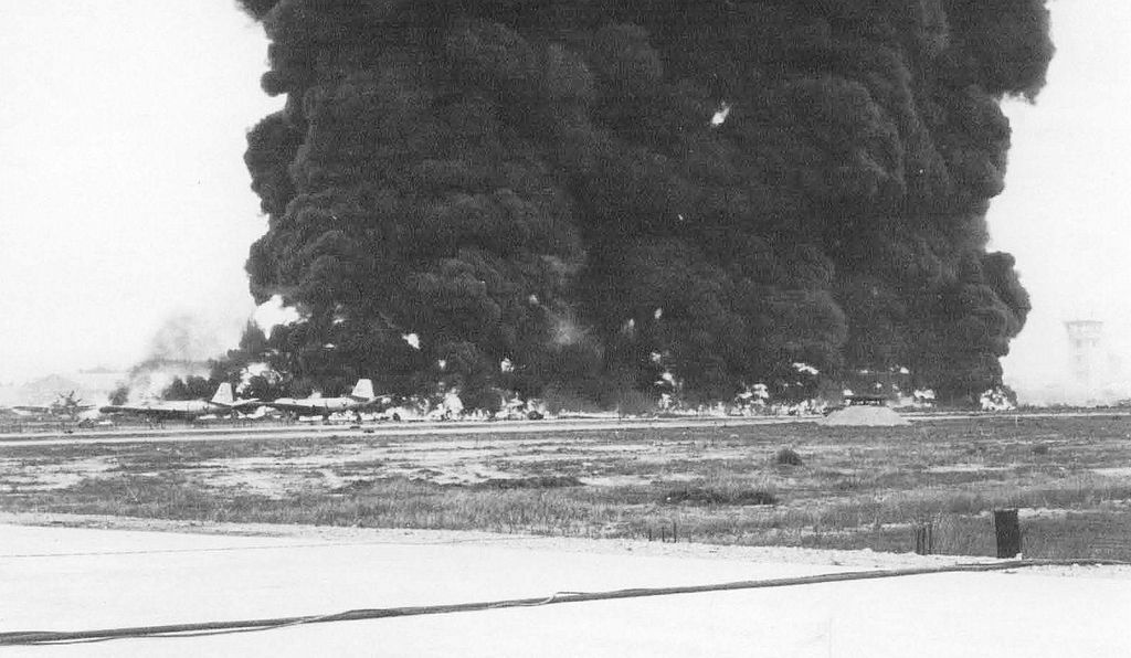 Burning aircraft at Bien Hua Air Base, South Vietnam