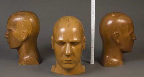 Wood models of human heads in the NIST Museum collection