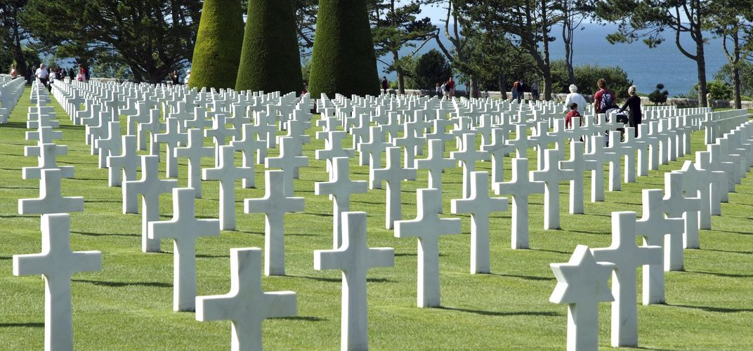 The Normandy American Cemetery and Memorial overlooking Omaha Beach
