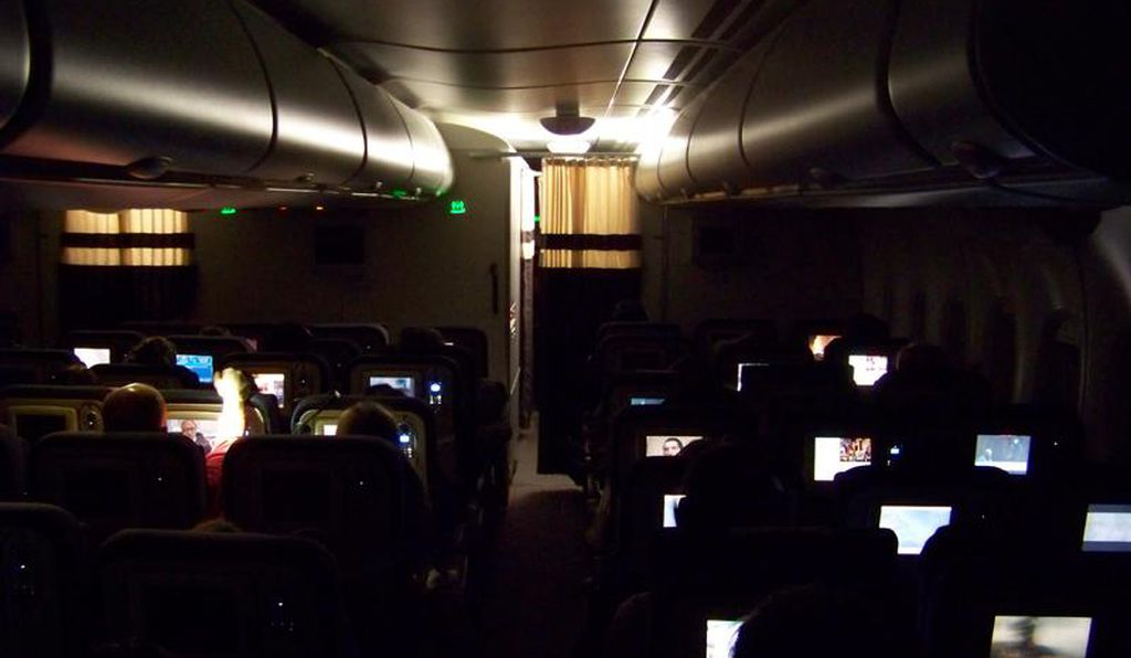 At night, most of the cabin lighting comes from video screens.