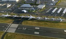 Boeing arranges a family portrait of its 7-series airliners.