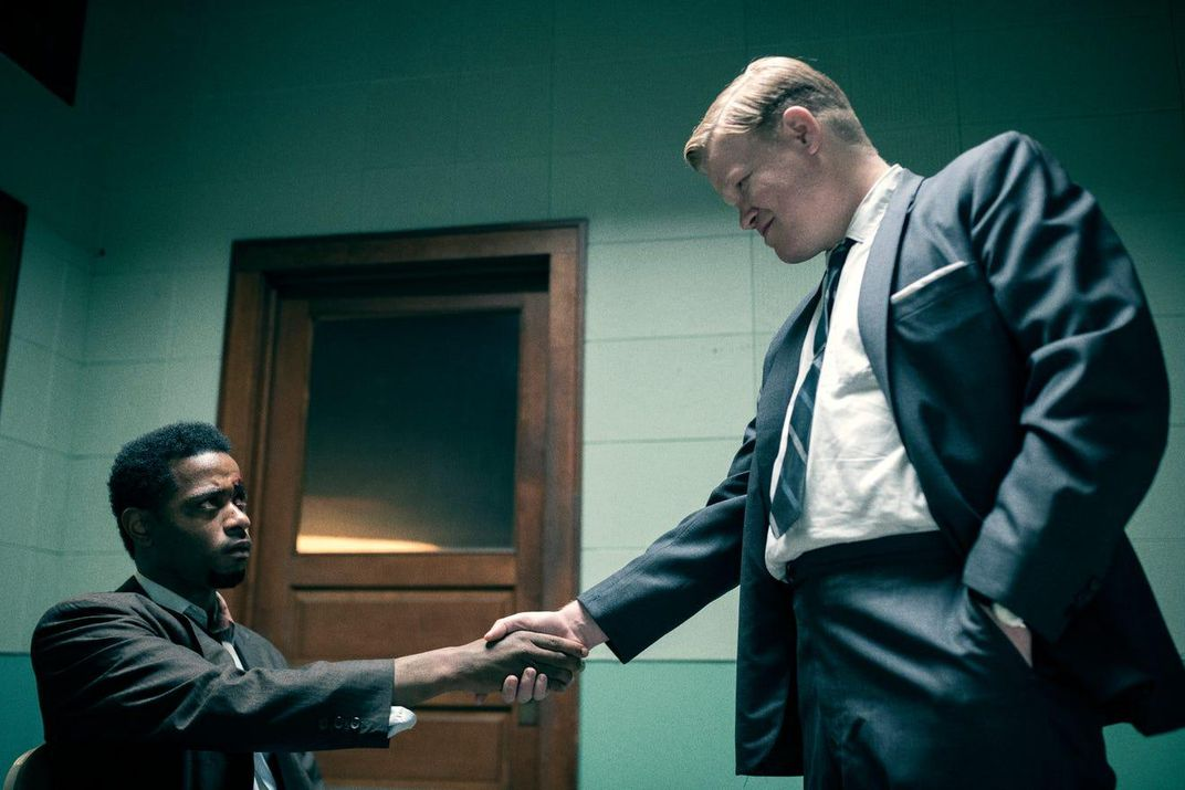 LaKeith Stanfield (left) as William O'Neal and Jesse Plemons (right) as FBI agent Roy Mitchell