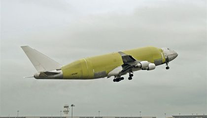 Boeing's Large Cargo Freighter takes to the sky.