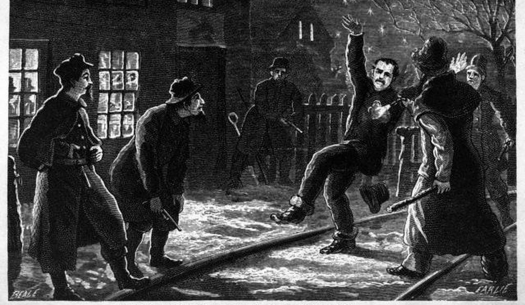 Illustration depicting a Molly Maguire firing a pistol. Woodcut, 1877.