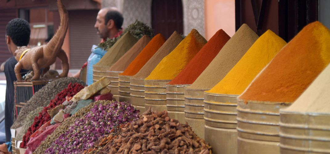 Traditional spices in a Moroccan bazaar